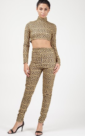 Althea Print Crop Top & Trouser Co-ord In Gold by Vivichi