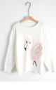 Flamingo embroidered with sequin design jumper by CY Boutique