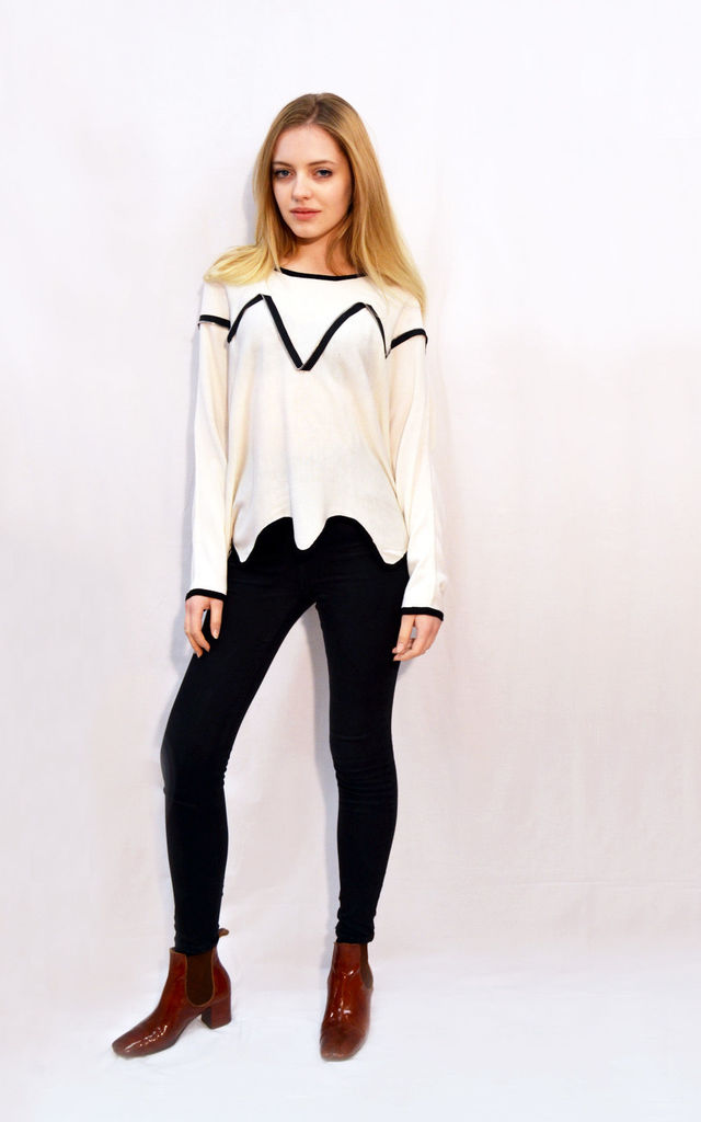 Jumper with Asymmetric Hem and Zip Trim in White/Black by CY Boutique