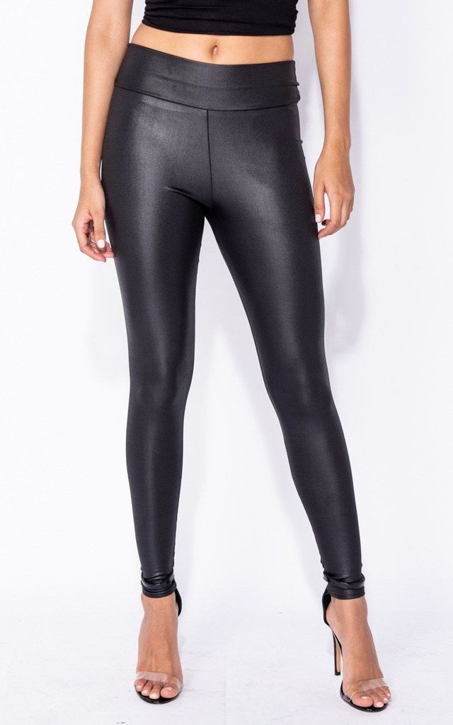 Wet Look Shiny Leggings by HAUS OF DECK