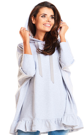 Light grey oversize frill hooded jumper by AWAMA