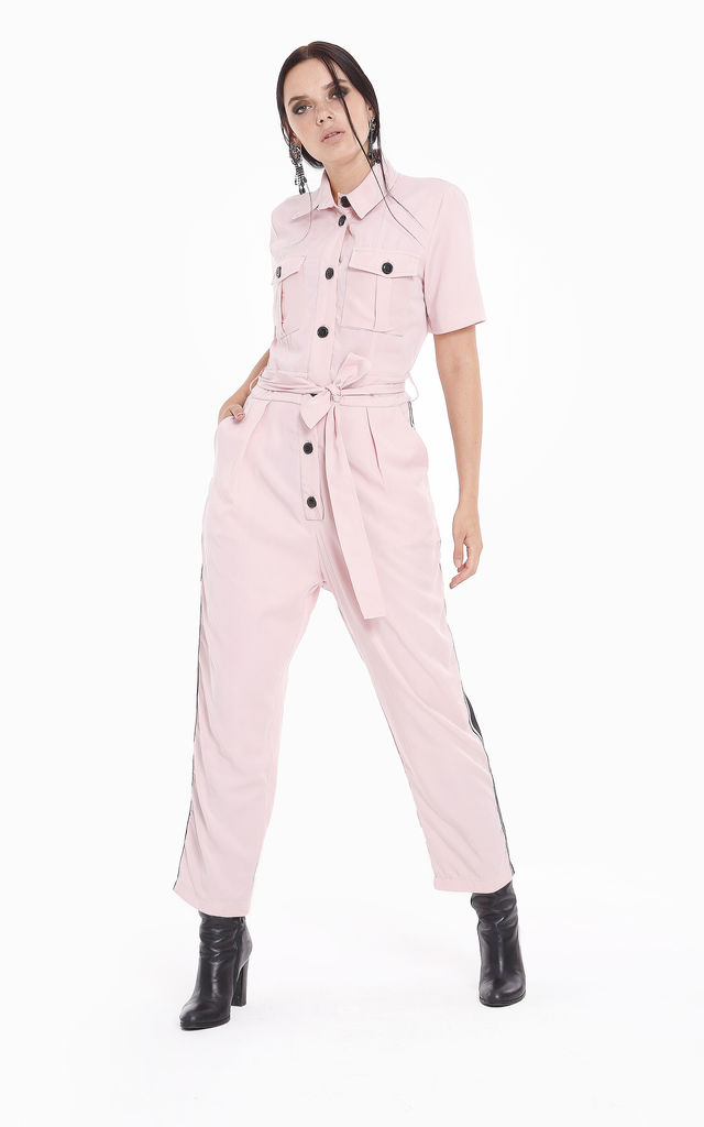 Button Down Candy Pink Jumpsuit by ROSELLIN