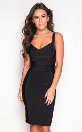 Arabella Tie Waist Bandage Bodycon Dress in Black by Girl In Mind