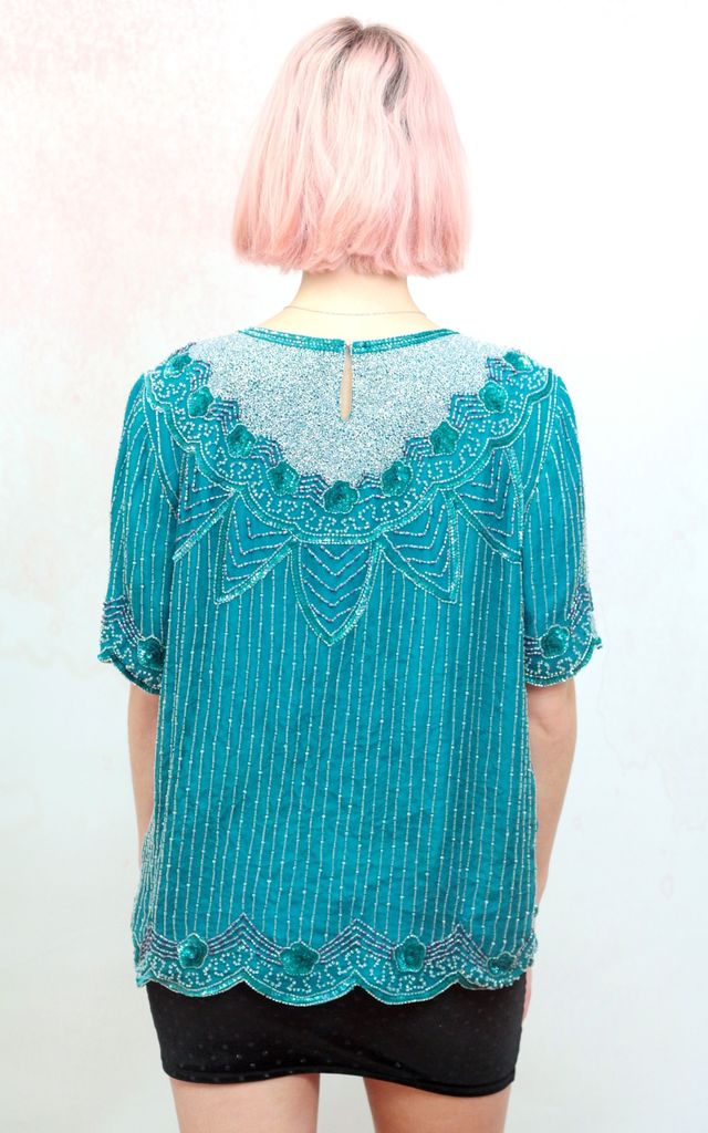 1980s vintage green and silver embellished silk top by Colour Me Vintage