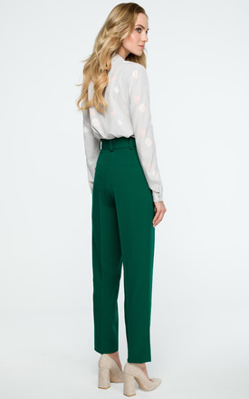 Green High Waist Tapered Trousers by MOE