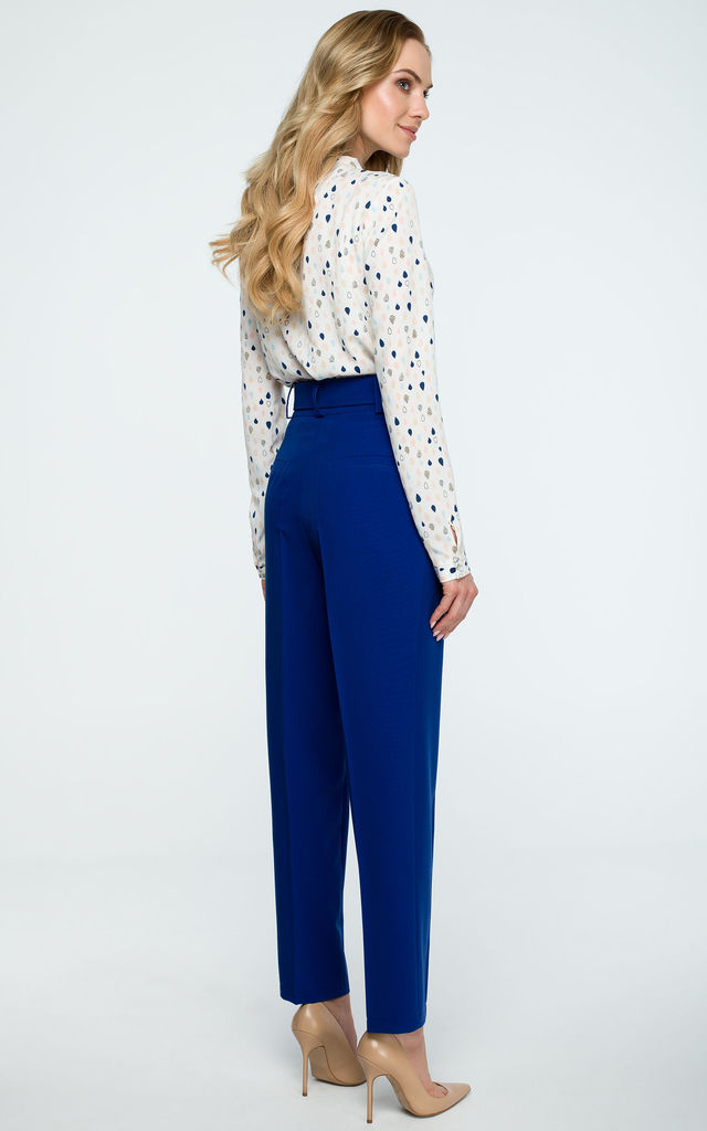 Royal Blue High Waist Tapered Trousers by MOE