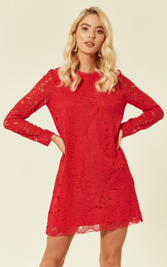 Red Lace Mini Dress by DIVINE GRACE
