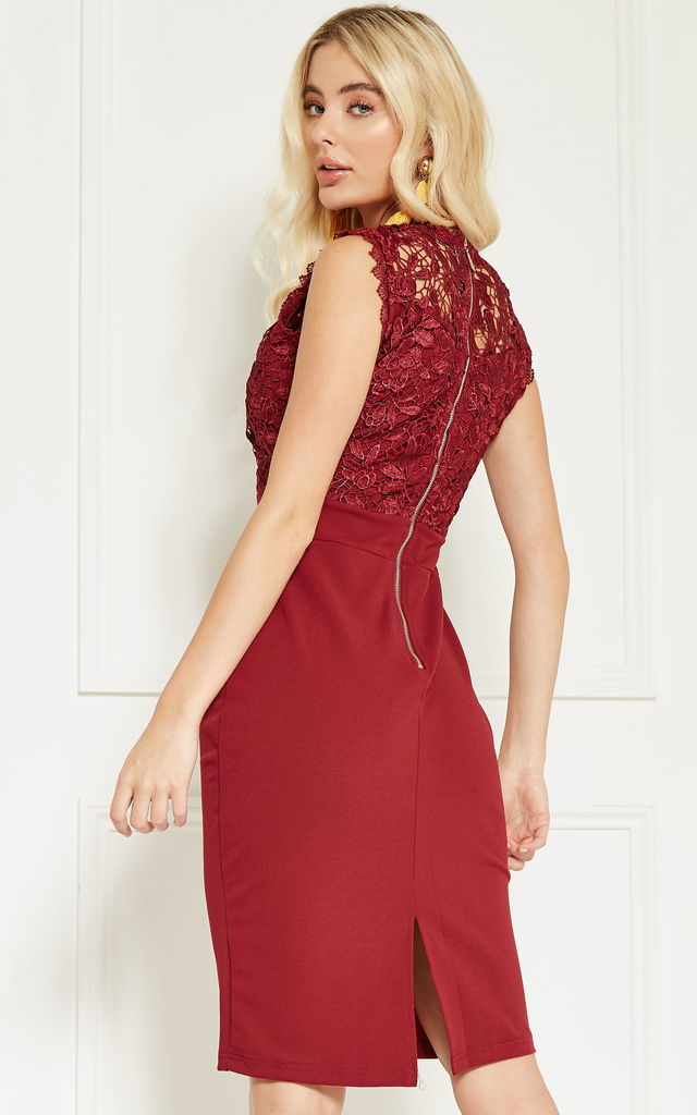 Berry Lace Top Bodycon Dress by Bella and Blue