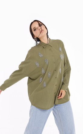 Long Sleeve Jewelled Detail Shirt Tunic by Store WF