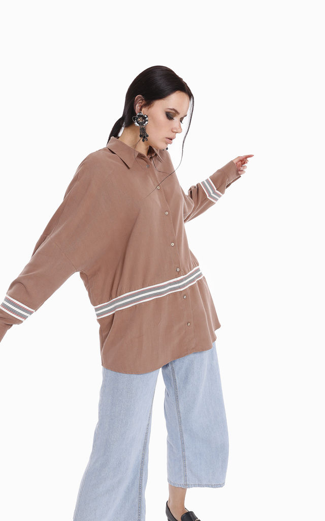Long Sleeve Stripe Detail acorn colour Shirt Tunic by Store WF