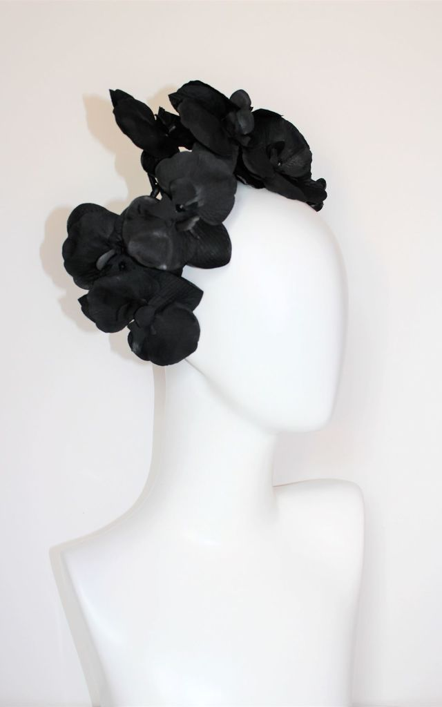 Large black orchid wedding headband headdress hat by Kate Coleman
