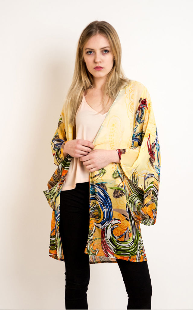 paisley and floral print Kimono Kaftan Cardigan in yellow by CY Boutique