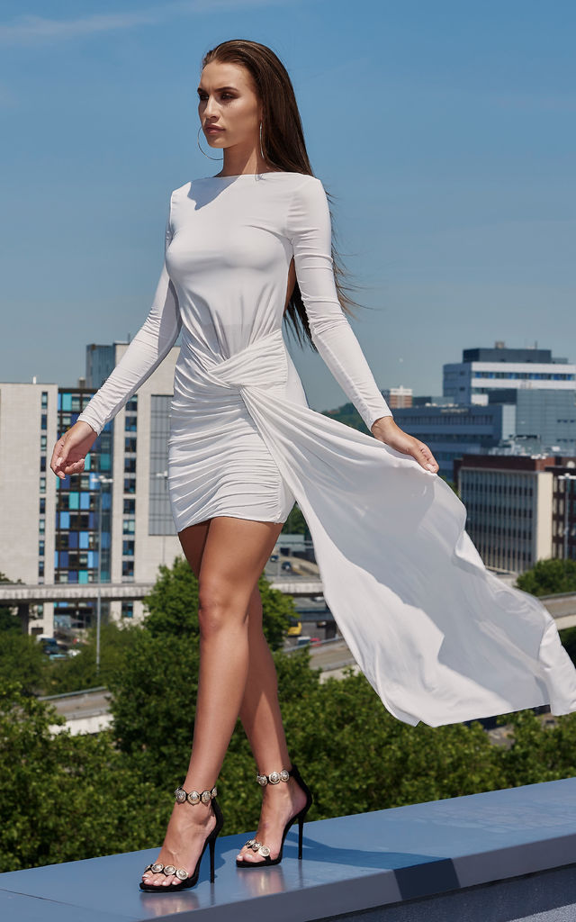 030d3cb714bf White Jersey Backless Drape Mini Dress | Club L London | SilkFred