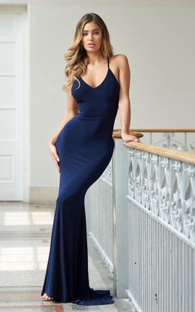 06b0fa589a0d Navy Cross Back Fishtail Maxi Bridesmaids Dress