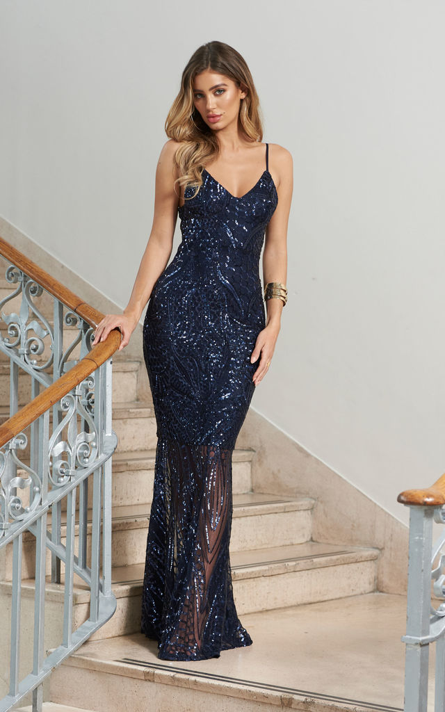 6a98104ad73 Navy Sequin Fishtail Maxi Dress by Club L London