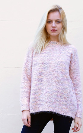 Long Sleeve High Neck Knitted Jumper in Pink by CY Boutique