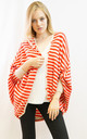 Batwing Cardigan in Red and White Stripe by CY Boutique