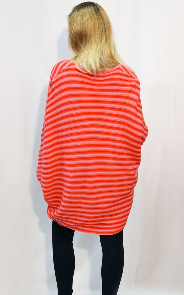 Batwing Cardigan in Red and Pink Stripe by CY Boutique