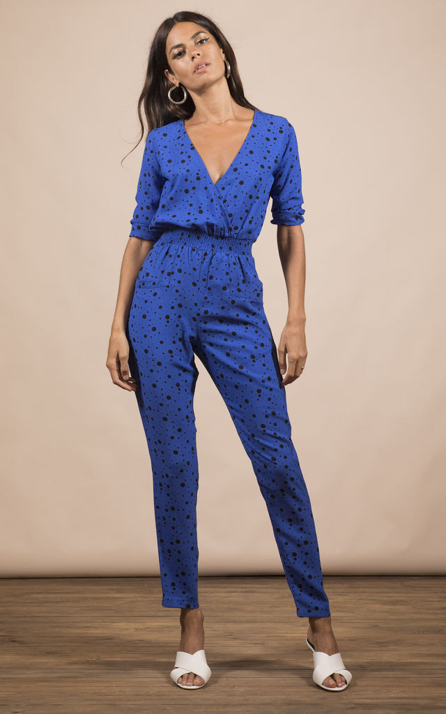 ZION JUMPSUIT IN ROYAL BLUE SPECKLE PRINT image