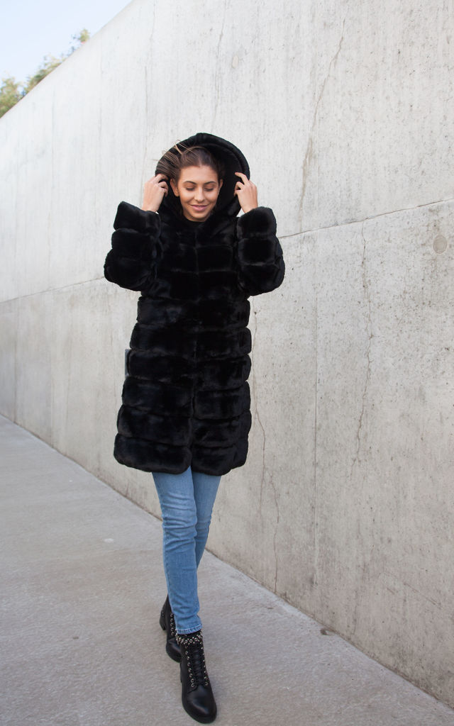 Black Luxe Soft Faux Fur Longline Hooded Coat by Styled In London