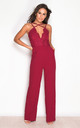 Suzie Cross Strap Lace Top Jumpsuit in Berry by Girl In Mind