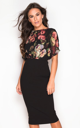 Autumn Batwing Floral Top Batwing Midi Dress Black by Girl In Mind