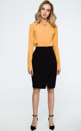 Black Wrap Pencil Skirt by MOE
