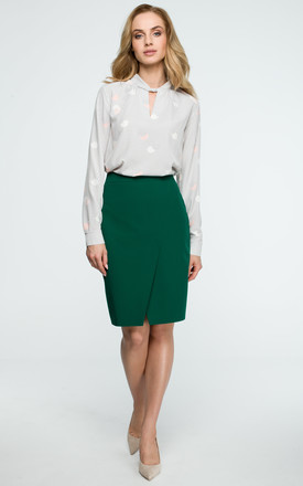 Green Wrap Pencil Skirt by MOE