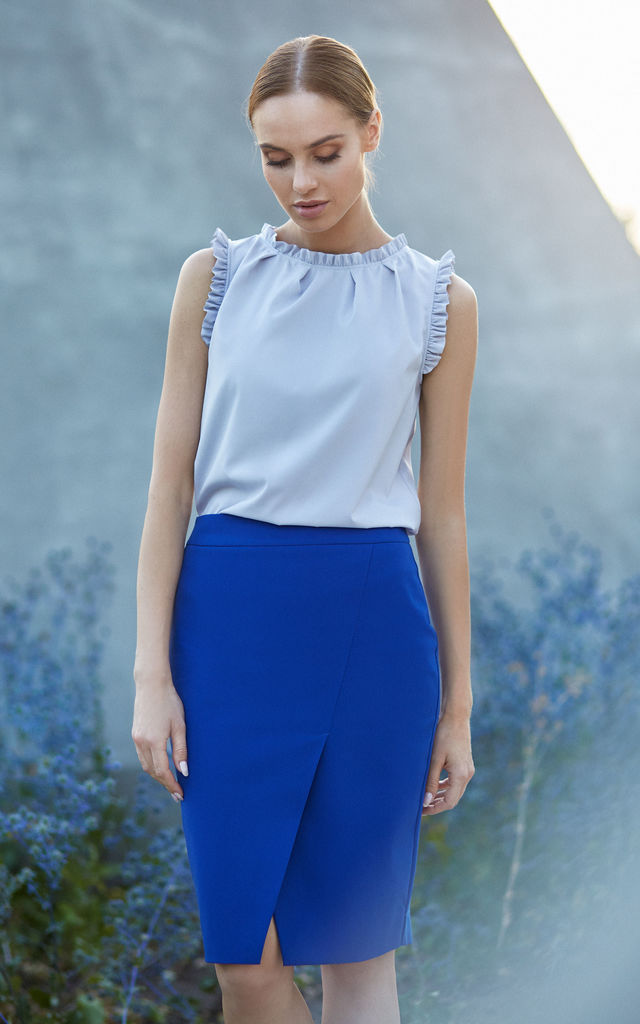 Royal Blue Wrap Pencil Skirt by MOE