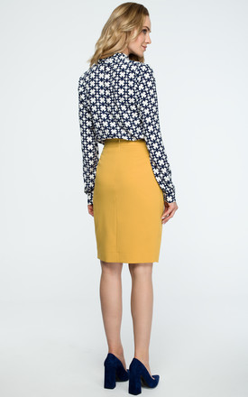 Yellow Wrap Pencil Skirt by MOE