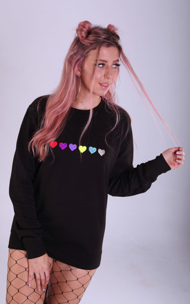 Regular Fit Sweatshirt in Black with Glitter Hearts by LimeBlonde