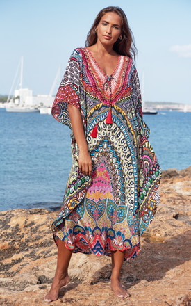 Petra Maxi Kaftan Dress with Red Tassels by Kitten Beachwear