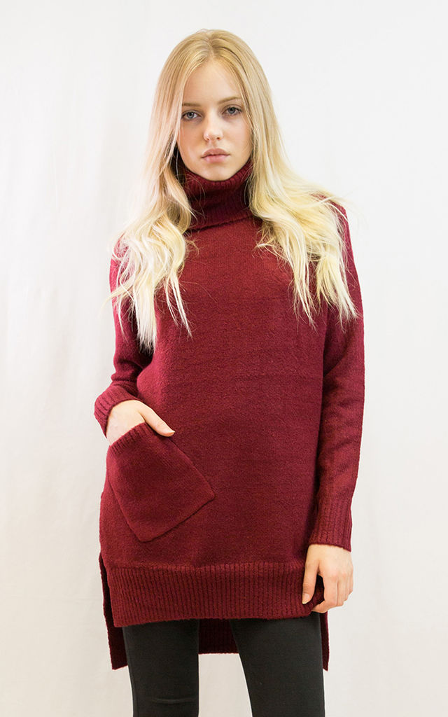 Oversized Long Sleeve Roll Neck Jumper in Burgundy Red by CY Boutique