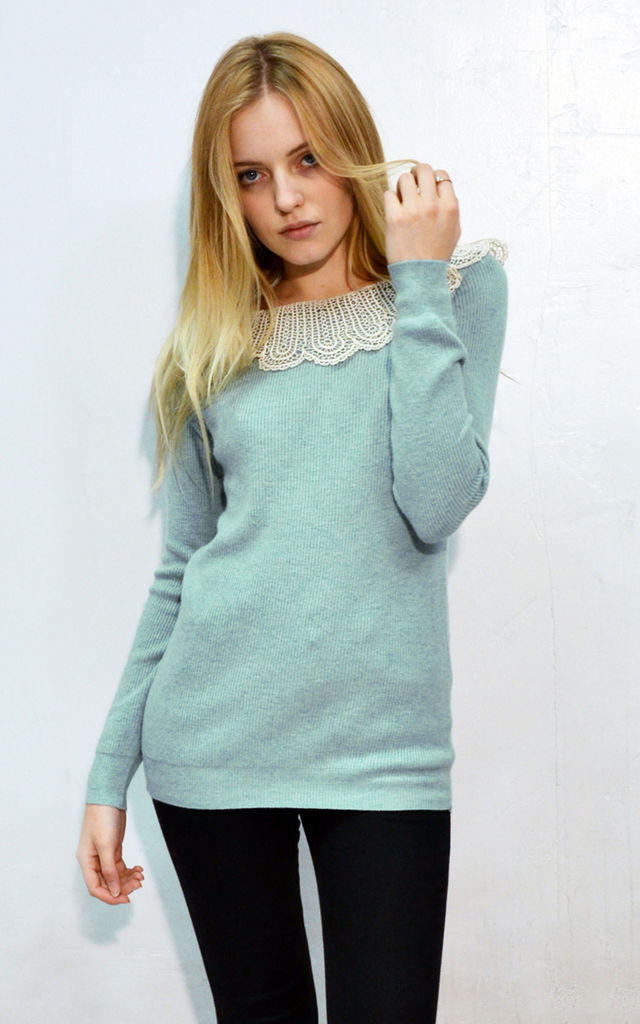 Long Sleeve Jumper with Crochet Collar in Mint Green by CY Boutique