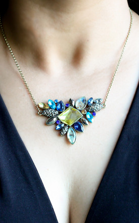 Vintage Blue Statement Pendant Necklace by Free Spirits