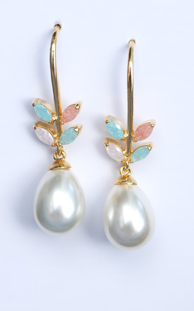 Elegant Pink and Light Blue Pearl Drop Earrings by Free Spirits