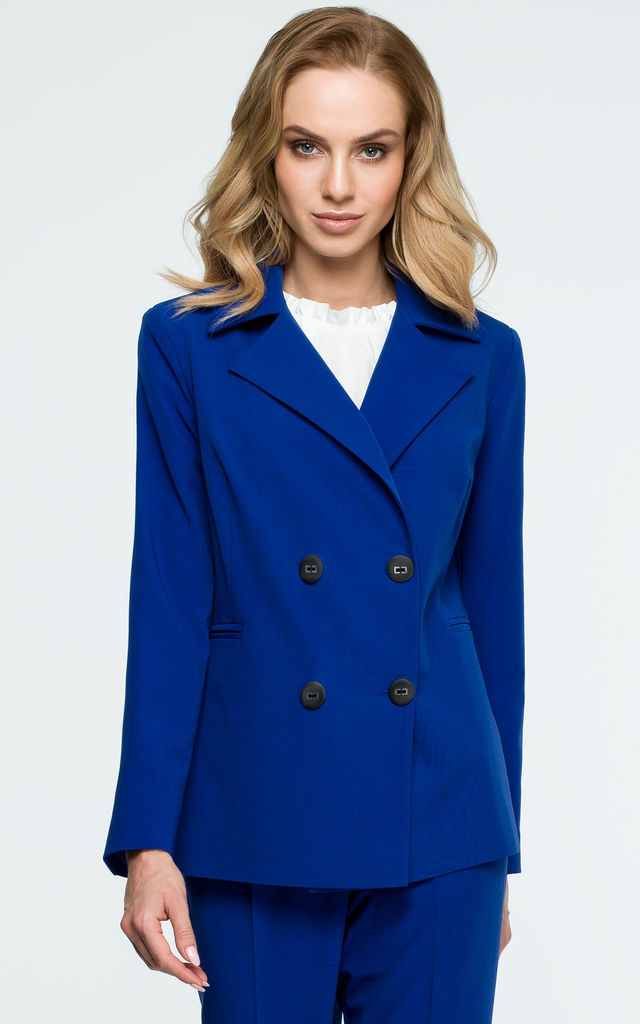 Royal Blue Double Breasted Fitted Blazer by MOE
