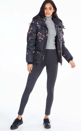 BRETTE – Floral Print Hooded Black Puffer by Blue Vanilla