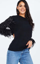 SUSAN – Mesh Water Fall Sequin Sleeve Black Jumper by Blue Vanilla