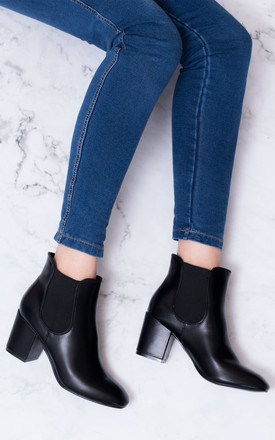 PANDER Block Heel Chelsea Ankle Boots - Black Leather Style by SpyLoveBuy