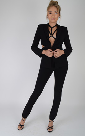Black Suit With Slim Leg Trousers And Cut Out Jacket by LOVEMYSTYLE