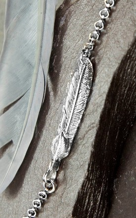 Oxidised Sterling Silver Feather Bracelet by Martha Jackson Jewellery