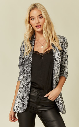 Grey Snake Skin Blazer Jacket by Liquorish Product photo