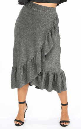 Lurex Frill Midi Skirt In Silver by Dressed In Lucy