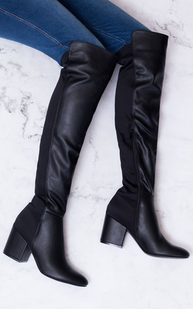 Avva Block Heel Over Knee Tall Stretch Boots   Black Leather Style by SpyLoveBuy Product photo