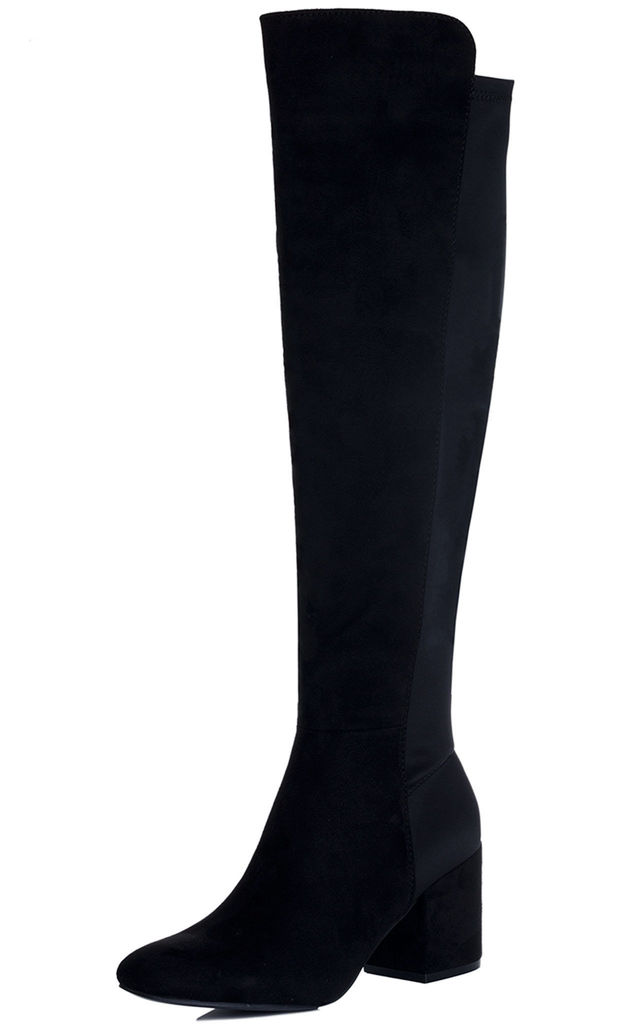 AVVA Block Heel Over Knee Tall Stretch Boots - Black Suede Style by SpyLoveBuy