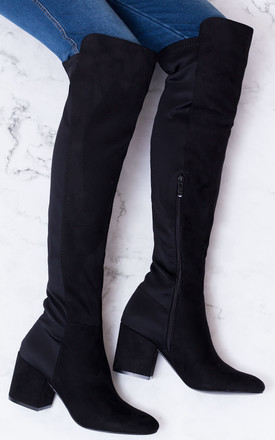 93440dd29c6 Avva Block Heel Over Knee Tall Stretch Boots Black Suede Style