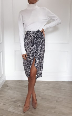 Aria Wrap Midi Skirt   Leopard by Pretty Lavish Product photo