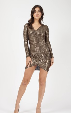 Kimora Wrap Front Ruched Sequin Dress In Gold by Vivichi Product photo