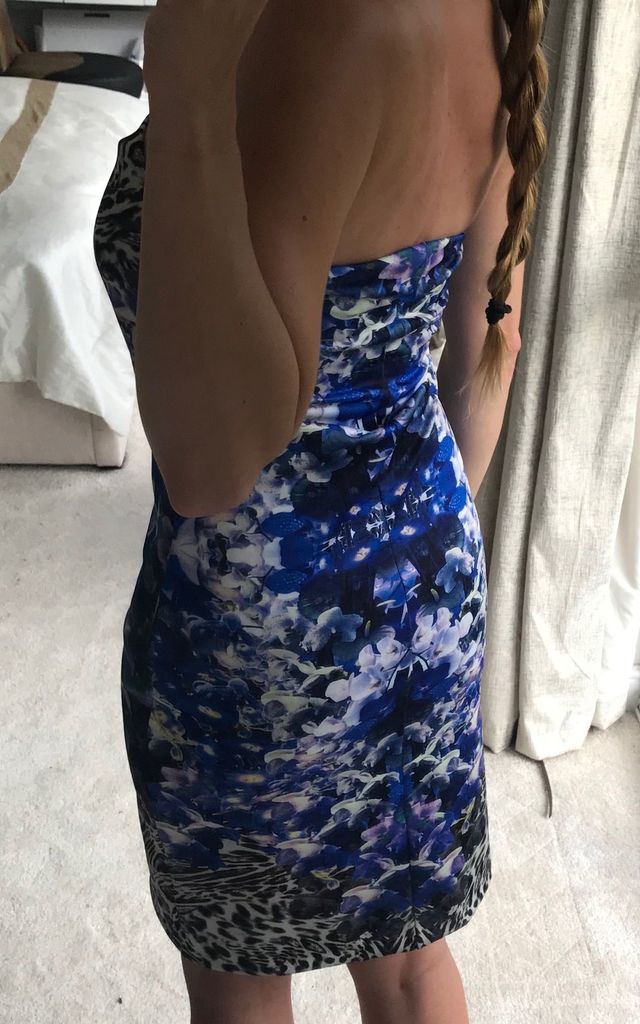 Leopard print and blue floral print midi dress, strapless wedding outfit by TwisT Fashion